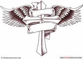 winged cross and design