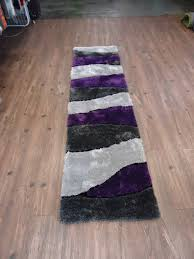 2 piece set handmade vibrant gray with purple shag rug rug