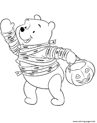 winnie trick or treating disney halloween coloring pages printable