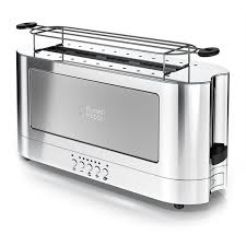Stainless Toaster 2 Slice 2 Slice Stainless Steel Long Toaster Silver Glass Russell Hobbs