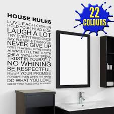 house rules wall decal sticker quote lounge living room bedroom black house rules wall sticker bathroom