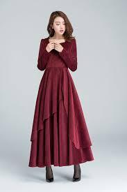 wine red dress corduroy dress romantic dress long by xiaolizi