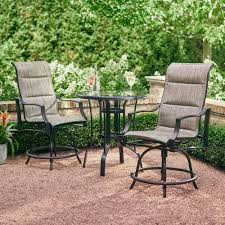Outdoor Patio Dining Sets With Umbrella - hampton bay statesville pewter 3 piece outdoor balcony height