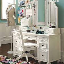 Glass Makeup Vanity Table Bathroom Chic Wooden Make Up Vanity With 3 Frame Mirror And