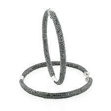 black hoop earrings gold inside out black diamond hoop earrings 5ct