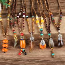 handmade statement necklace images Handmade nepalese mala wood bead and natural stone long pendant jpg
