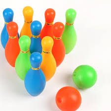 plastic large bowling set with balls pins for children