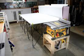 diy table saw stand with wheels table saw stand and collapsible out feed work table pretty handy