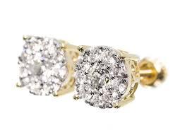 men diamond earrings men 14k yellow gold solitaire look diamond 9 mm studs