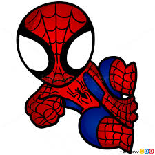 draw spider man chibi