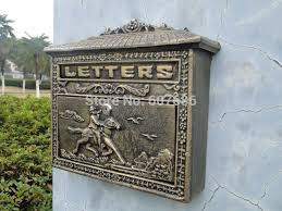 small rustic cast iron mail box mailbox metal letters post box