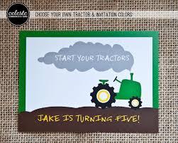 tractor pull birthday party invitation john deere inspired