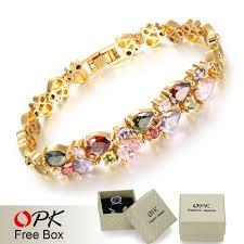 opk multicolor cubic zirconia mona bracelets vintage gold