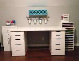 Solid Wood Desks For Home Office Ez View Craft Desk Doors And Open Center Storage With Shelf Hutch