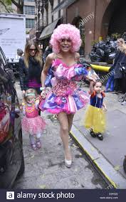halloween in new york city bethenny frankel dressed up for halloween in a pink wig and dress