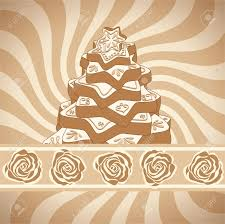 hand drawn gingerbread christmas tree on background with brown