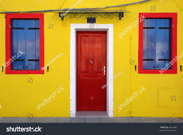 door two windows bright yellow house stock photo 6943498