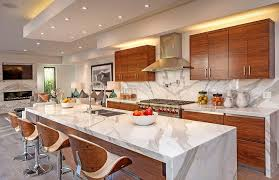 eat in island kitchen beautiful waterfall kitchen islands countertop designs designing
