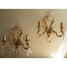 Crystal Wall Sconces by Pair Of Antique French Louis Xv Gilt Bronze U0026 Crystal Wall Sconces