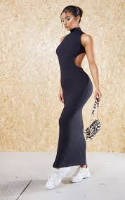 how to cut out the back of a cabinet black recycled high neck cut out back midi dress