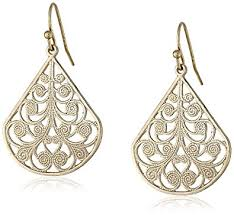 filigree earrings 1928 jewelry gold tone vine filigree earrings drop