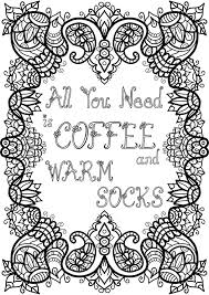 free colouring page coffee and warm socks by welshpixie on