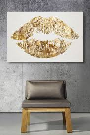 Silver And Gold Home Decor by Gold Glitter Lips Canvas Art Cute For A Bathroom Or Above A Bed