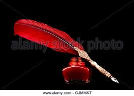 Quill Desk Lamp Antique Writing Desk With Red Feather Quill Pen And Oil Lamp Stock