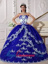 blue quinceanera dresses blue and white gown strapless floor length organza