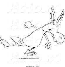 vector of a cartoon running donkey outlined coloring page by