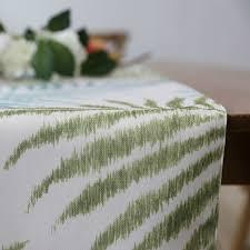 modern table runner polyester blue green leaves tropical plant