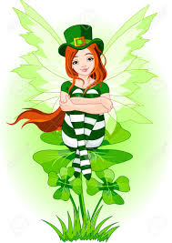 illustration of charming st patrick u0027s fairy sitting on clover