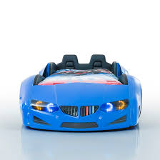 bmw childrens car bed in blue with led and leather seats