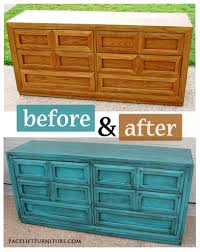 Refinishing Bedroom Furniture Ideas by Turquoise Dresser With Heavy Black Glaze Before U0026 After