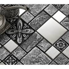brushed stainless steel backsplash mosaic tile designs black