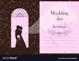 Bride To Groom Wedding Card Wedding Card Bride And Groom Silhouette Vector Image