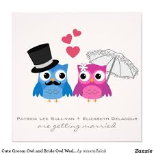 cute groom owl and bride owl wedding invitation fun wedding