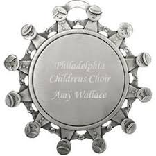 engraved sled pewter ornament merry and bright