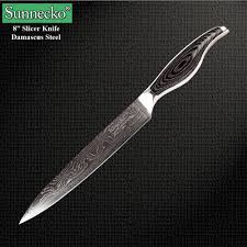 reviews 2016 sunnecko 8 inch slicer knife high quality damascus