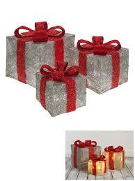 christmas present light boxes set of 3 led light up christmas present gift box