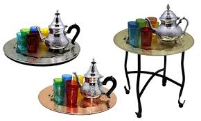 moroccan tea table stand moroccan tea serving tray set groupon goods