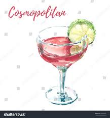cosmopolitan drink png hand drawn watercolor painting illustration vodka stock