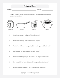 problem solving math worksheet with pots and pans and other