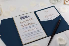 navy blue wedding invitations brig o doon wedding invitation in navy blue pocketfold