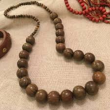 large wood bead necklace images Vintage jewelry big wooden bead necklace greenishbrown poshmark jpg