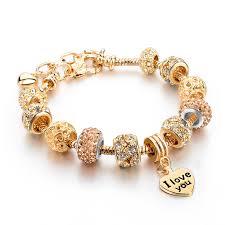 bracelet charm crystal images Gold heart charm crystal bracelet jpg