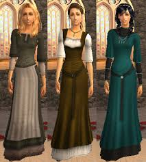 mod the sims layered medieval dresses