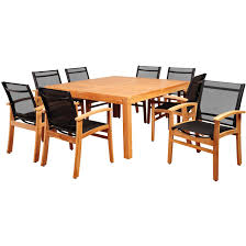 Teak Outdoor Dining Tables Amazonia Sunset View 8 Person Sling Patio Dining Set With Teak