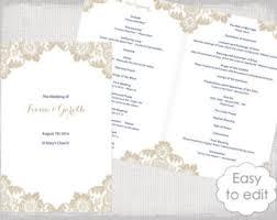 easy wedding program template catholic wedding program template chagne scroll