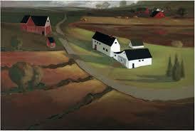 twillight folk art barn painting primitive style country print